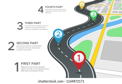 Highway road infographic. Street roads map, gps navigation way path direction and town journey route pin directions gps navigate blank asphalt highways marker sign 3d vector concept