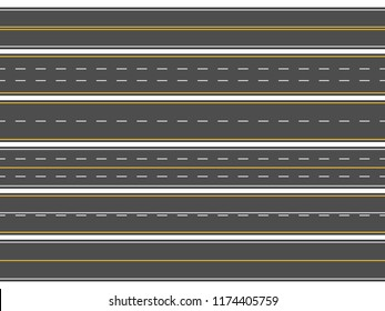 Highway road marking. Horizontal straight asphalt roads sign, modern street roadway lines or empty highways street markings direction arrow vector illustration isolated icons set