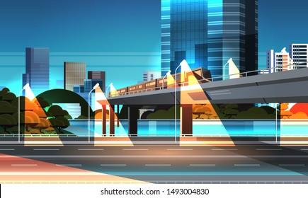 highway road night city street with modern skyscrapers train on railway monorail crossing bridge urban cityscape background flat horizontal