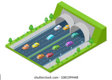 Highway road passes through the tunnel in mountain, vector isometric 3D illustration. Transport and modern road construction concept.