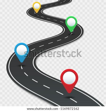 Highway Roadmap Pins Car Road Direction Stock-Vrgrafik ... on