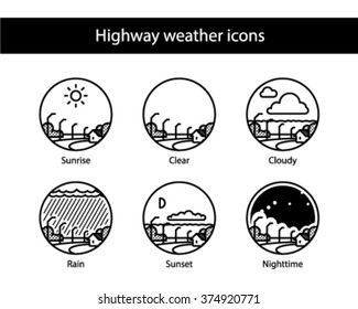 Highway round weather icons, black and white.