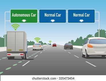 highway sign illustration, autonomous car lane, normal car lane