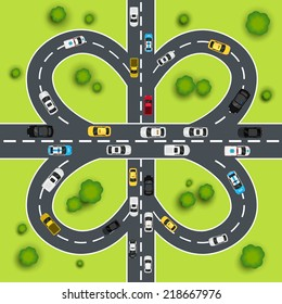 Highway traffic cloverleaf intersection top view background vector illustration