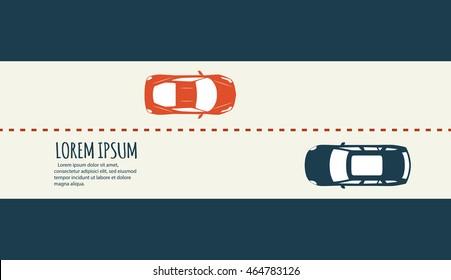 Highway traffic. Minimalistic banner.
