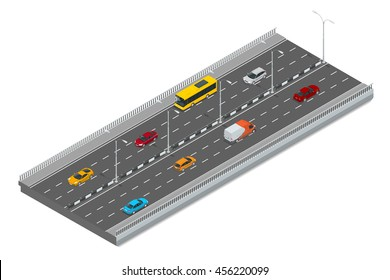 Highway traffic. Highway transportation with cars and Truck. Flat 3d vector isometric illustration