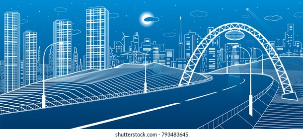 Highway under the bridge. Modern night town, neon city. Infrastructure illustration, urban scene. White lines on blue background. Vector design art