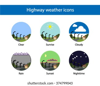 Highway weather round icon set, colored.