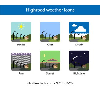 Highway weather square icon, colored.