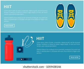 Hiit sportswear, sport shoes and helpful gadgets, blue sneakers and red sport bottle, portable music player and pulse sensor, vector illustration