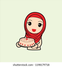 Hijab with cake vector