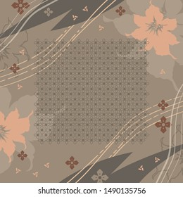 Hijab design with flower and abstract lines on brown background. Silk scarf pattern