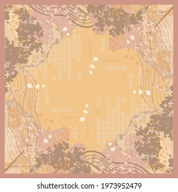 Hijab design with leaf and ethnic ornament. Scarf pattern motif