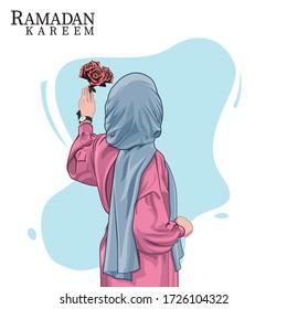 Hijab girl holding flowers on ramadan, vector illustration