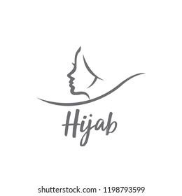 hijab logo. pink. vector.