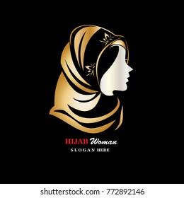 Hijab Logo Template Isolated. Hijab Vector Illustration
