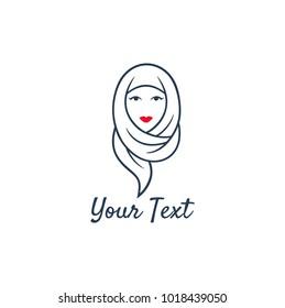 Hijab Logo. Young Lovely Muslim Girl Flat Design Logo Vector, Template
