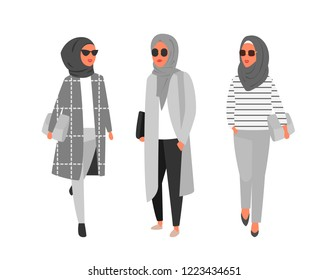 Hijab muslim woman. Modern people in islamic clothes style. Arab fashion. People characters vector illustration