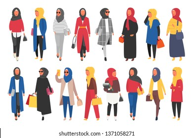Hijab muslim woman set. Modern people in islamic clothes style. Arab saudi modest fashion. People characters vector illustration