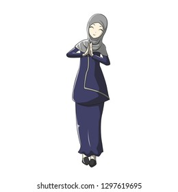 Hijab muslimah vector with manga style for greeting cards, Ramadan and many more you need.