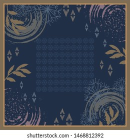 Hijab pattern with geometric and leaf design on blue background