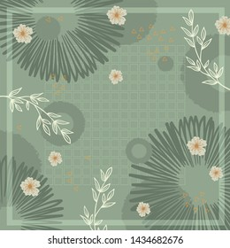 Hijab silk scarf pattern with floral element on green background