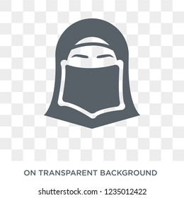 Hijab veil icon. Trendy flat vector Hijab veil icon on transparent background from Religion  collection.
