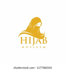Hijab or veil logo design vector concept