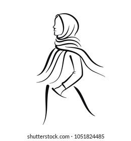 Hijaber Line Art Illustration Vector