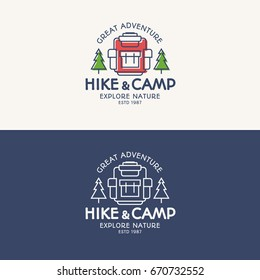 Hike and camp logo set color and line style consisting of backpack, trees for tourist symbol, explore emblem, travel badge, expedition label, hiking sticker, climbing, poster, banner