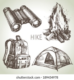 Hike and camping tourism hand drawn set. Sketch design elements