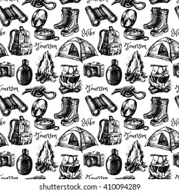Hike and camping tourism hand drawn vintage seamless pattern. Vector illustration