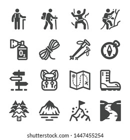 hike and trekking icon set,vector and illustration