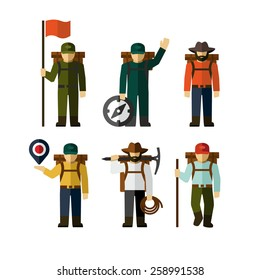 Hiker Backpack Traveler Vector Figure Icon