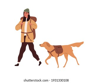 Hiker with backpack traveling together with dog. Active person hiking with pet. Colored flat cartoon vector illustration of young woman walking with labrador isolated on white background