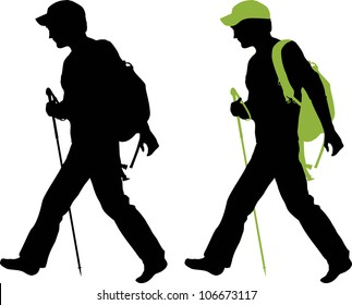 Hiker (backpacker) silhouette walking.  All hiker equipment is separated.