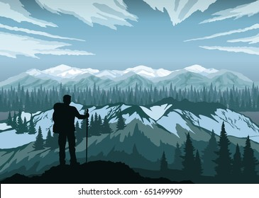 Hiker enjoying landscape with mountains, forest and sky. Mountaineering and Traveling. Mountain Peaks.