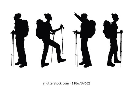 Hiker girl with backpack and walking sticks. Backpacker black silhouettes set. Isolated female silhouettes on white.