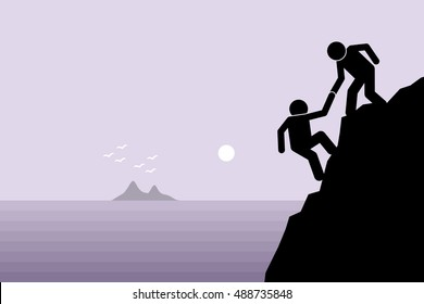 Hiker helping a friend climbing up on a rocky dangerous cliff at mountain by pulling him up with hand. Artwork depict friendship support, teamwork, partnership, faith, and trust.