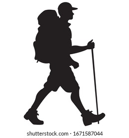 Hiker man with a backpack in a cap, black silhouette on a white background. Traveling in nature for a walk in the fresh air. Tourism logo, emblem for a hiking club. Isolated vector illustration