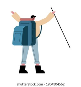 Hiker man cartoon with bag and stick backwards design, Explorer walker excursionist tripper tourist and travel theme Vector illustration