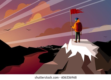 Hiker On Top Mountain with flag