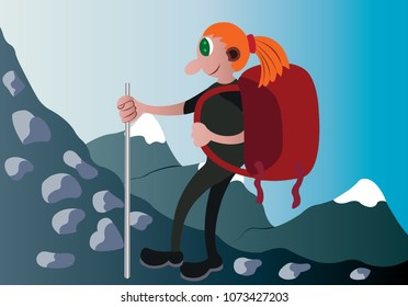 a hiker trekking the mountains with her equipment