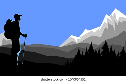 Hiker vector silhouette looking at mountain range
