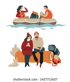 Hikers couple hiking in boat and sitting on log camping and rafting vector backpacks wild nature sailing river in life vests forest and water walking tour extreme and adventure man and woman.