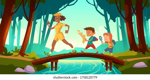 Hikers walk over bridge crossing river in forest. Vector cartoon illustration with scouts kids with map and backpacks and woman teacher in wood with trees and brook. Children hike, adventure