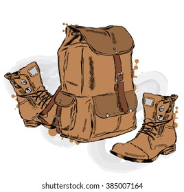 Hiking backpack and shoes in a vector. Travels.