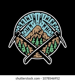 Hiking Badge Vector
