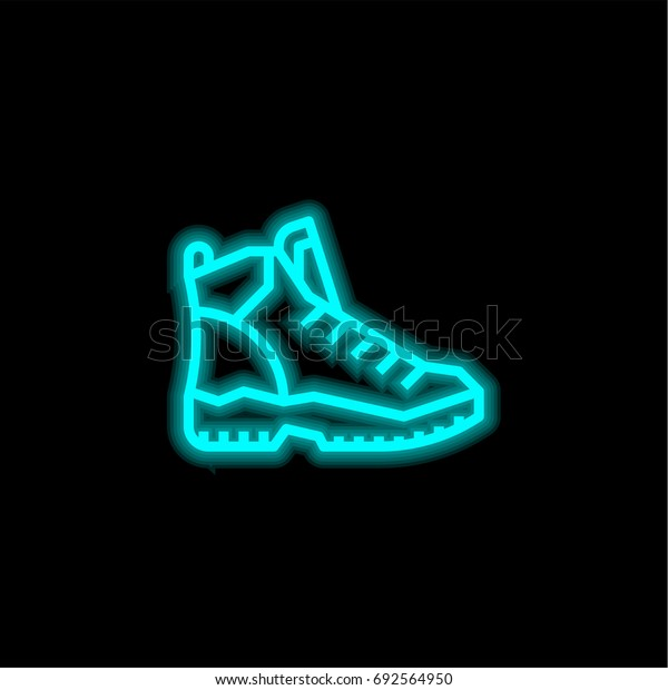 Hiking blue glowing neon ui ux icon. Glowing sign logo vector