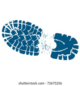 Hiking boot clip art track with border.